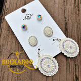 Mini Rhinestone Concho Earring Trio Set - Ivory