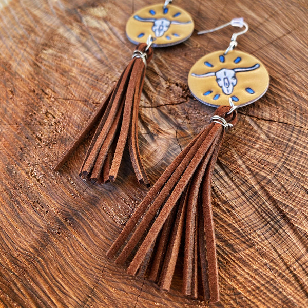 Leather Bull Tassel Earrings