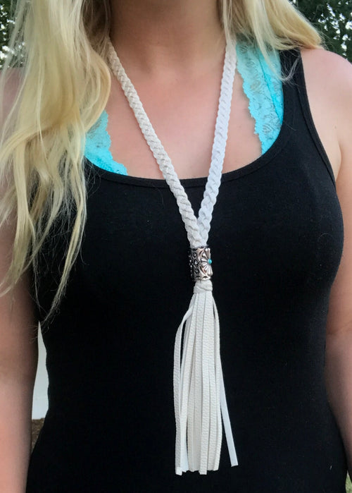 Braided Leather Tassel Necklace - Ivory