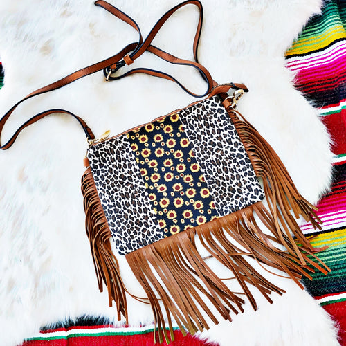 Leopard Sunflower Fringe Crossbody