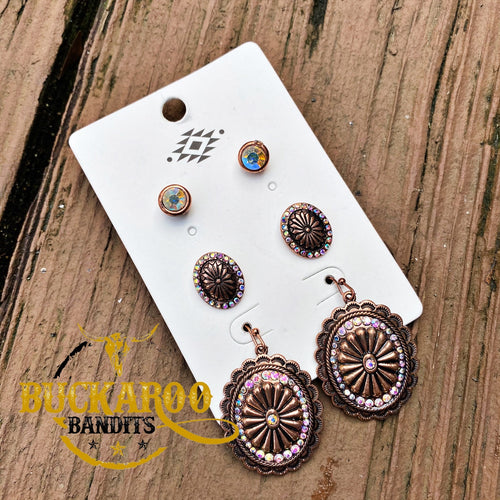 Mini Rhinestone Concho Earring Trio Set - Copper