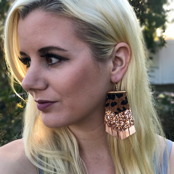 Rose Gold Leopard Earrings