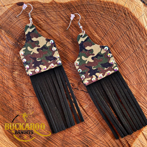 Camo Fringe Cattle Tag Earrings