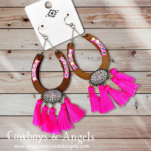 Rhinestone Horseshoe Tassel Earrings - Pink