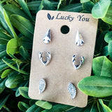 Rustic Trio Stud Earrings Set