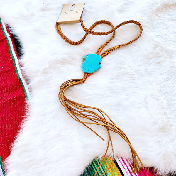 Boho Natural Stone Necklace - Light Brown