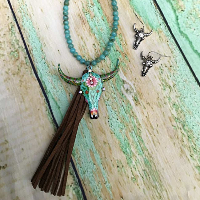 Turquoise Bull Tassel Necklace Set