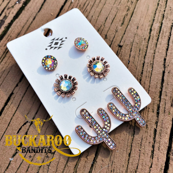 Rhinestone Cactus Trio Earrings Set - Copper
