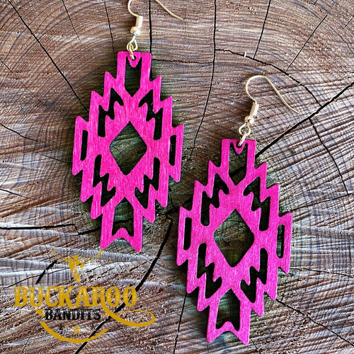 Hot Pink Tribal Cut Out Earrings