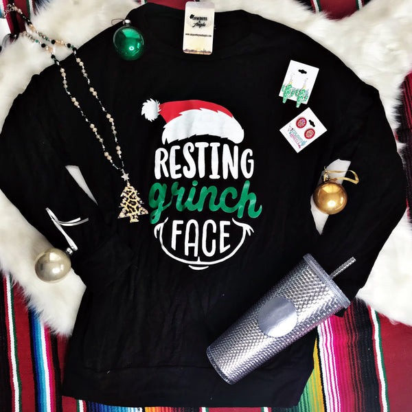 Resting Grinch Face Long Sleeve Top