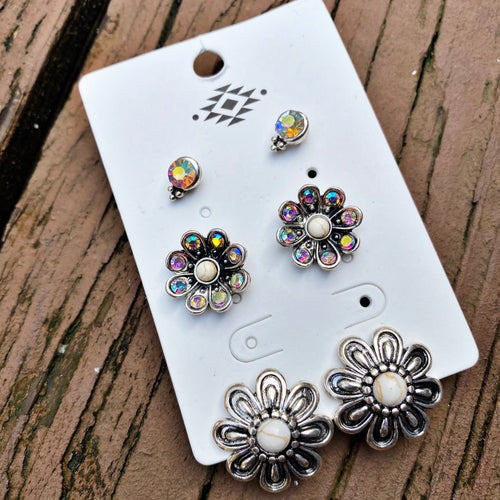 Flower Trio Earring Set - White