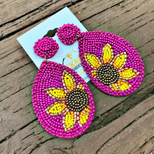 Seed Bead Sunflower Teardrop Earrings - Fuchsia