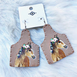 Floral Horse Tag Earrings