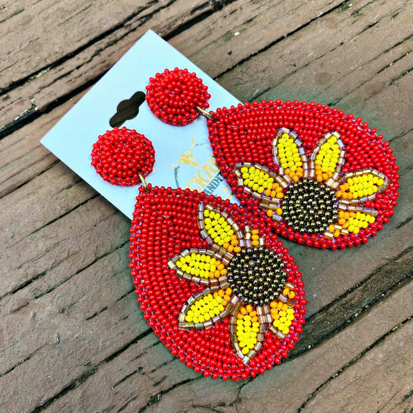 Seed Bead Sunflower Teardrop Earrings - Red