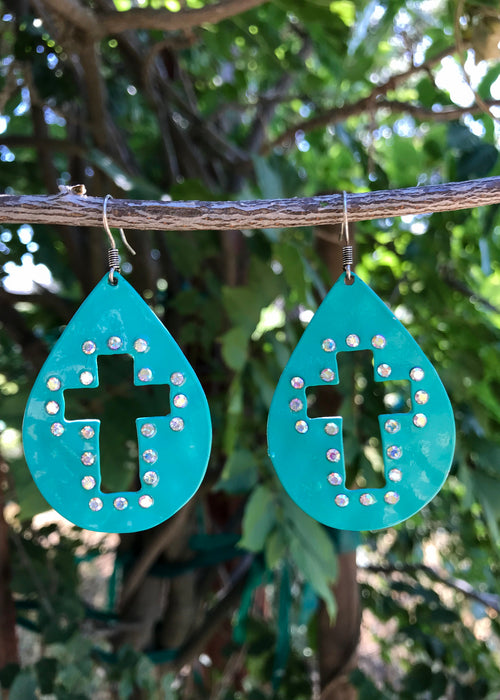 Turquoise Cross Earrings