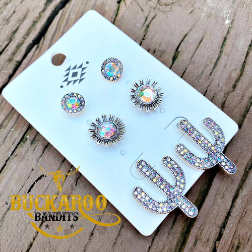 Rhinestone Cactus Trio Earrings Set - Silver