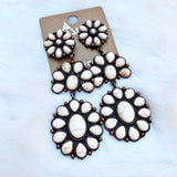 CLIP ON White Earrings