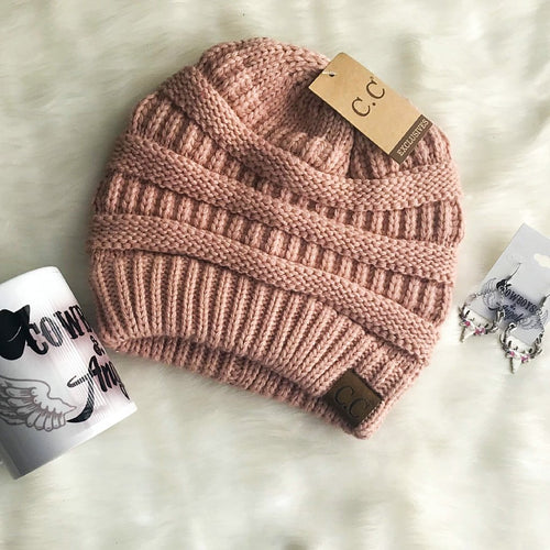 C.C. Knitted Beanie - Indian Pink