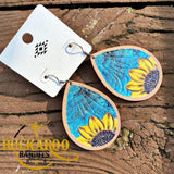 Leather Sunflower Earrings - Turquoise