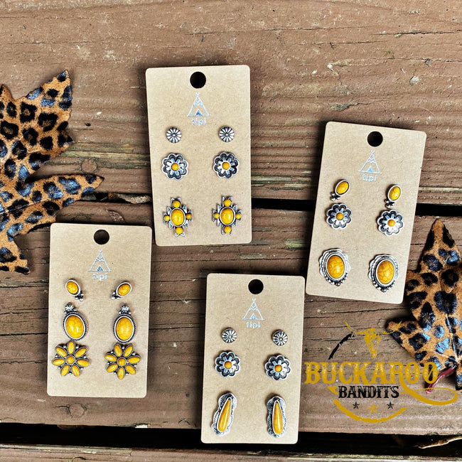 Yellow Floral Earrings Trio Set