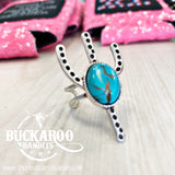 Turquoise Cactus Adjustable Ring