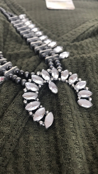 Cowgirl Bling Crystal Squash Blossom Necklace