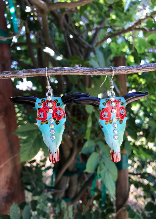 Large Turquoise & Rose Bull Earrings