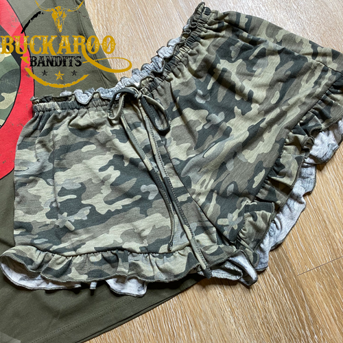 Ruffle Camo Lounge Shorts