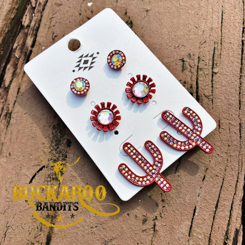 Rhinestone Cactus Trio Earrings Set - Red
