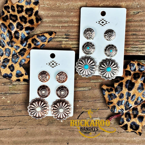 Circle Concho Earring Trio Set