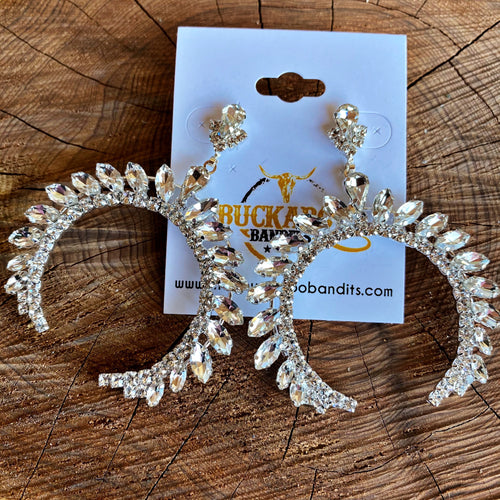 Perfect Day Rhinestone Squash Earrings