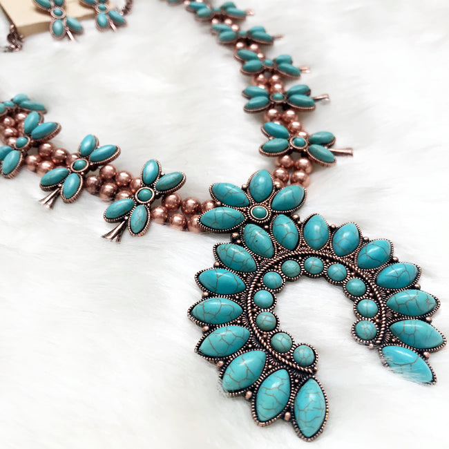 Navajo Style Squash Blossom Necklace Set - Copper