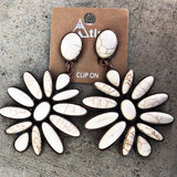 CLIP ON Western Earrings - White