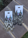 Leopard Fringe Seed Bead Earrings - Ivory
