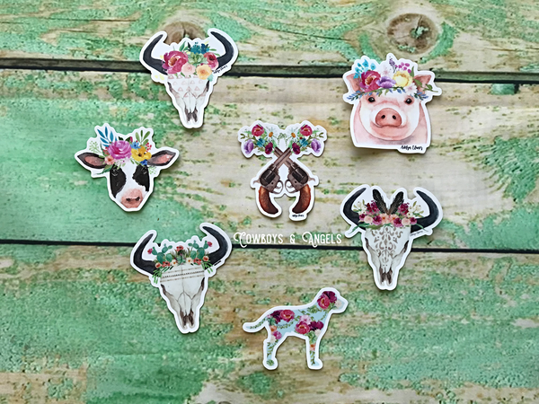 Miss Bessy Floral Cow Sticker