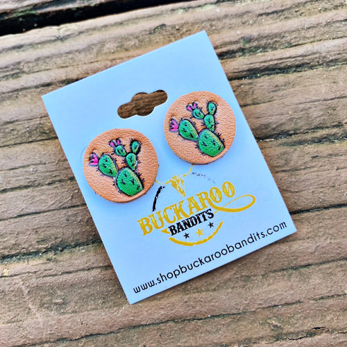 Leather Cactus Stud Earrings