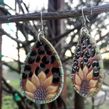 Leopard Sunflower Earrings