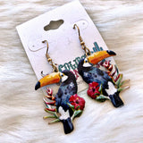 Floral Toucan Earrings