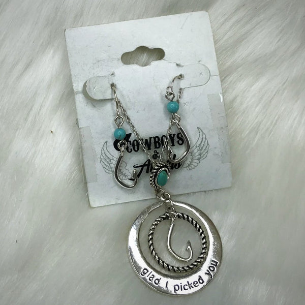 Glad I Picked You Fish Hook Necklace Set