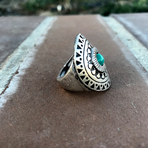 Silver & Turquoise Boho Stretch Ring