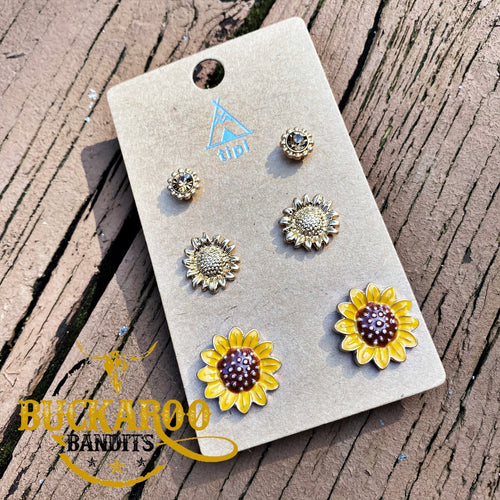Sunflower Trio Earrings Set