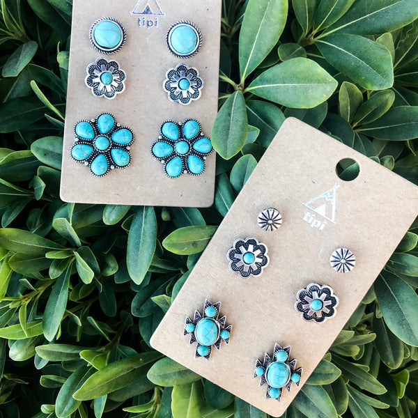 Turquoise Floral Cowgirl Earring Trio Set