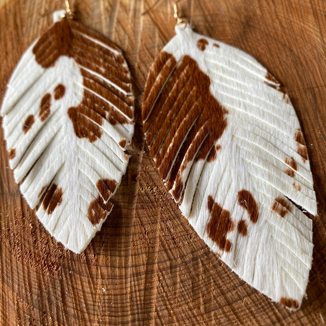 Leather Cow Print Feather Earrings