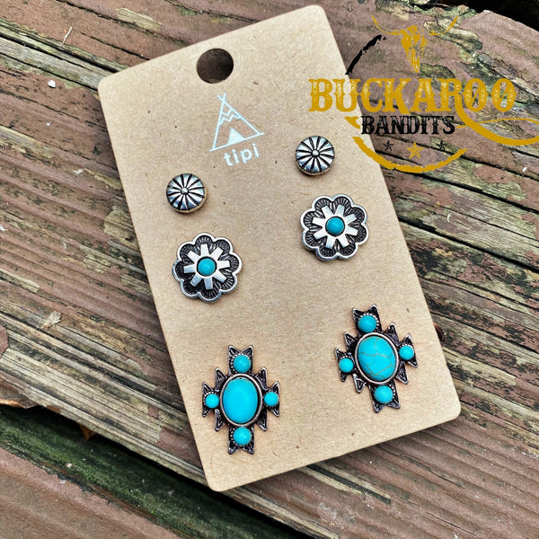 Turquoise Tribal Earrings Trio Set