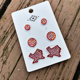 Texas Babe Earring Trio Set - Red
