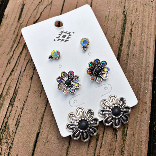 Flower Trio Earring Set - Black