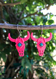 Turquoise Stone Steer Earrings -PINK