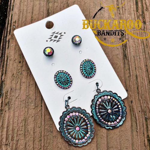 Mini Rhinestone Concho Earring Trio Set - Patina