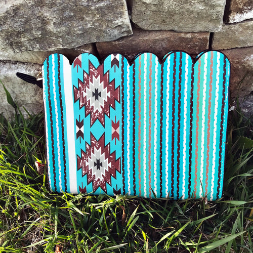 Southern Aqua Serape Leather Scallop Crossbody