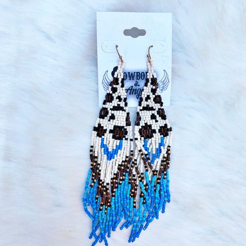 Leopard Seed Bead Earrings -Ivory
